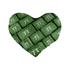 Pi Grunge Style Pattern Standard 16  Premium Flano Heart Shape Cushions by dflcprints