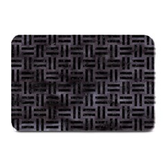 Woven1 Black Marble & Black Watercolor (r) Plate Mat by trendistuff