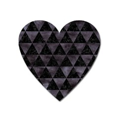 Triangle3 Black Marble & Black Watercolor Magnet (heart) by trendistuff