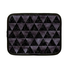 Triangle3 Black Marble & Black Watercolor Netbook Case (small) by trendistuff
