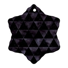 Triangle3 Black Marble & Black Watercolor Snowflake Ornament (two Sides) by trendistuff
