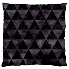 Triangle3 Black Marble & Black Watercolor Large Cushion Case (one Side) by trendistuff