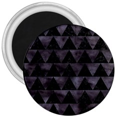 Triangle2 Black Marble & Black Watercolor 3  Magnet by trendistuff