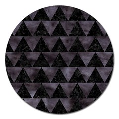 Triangle2 Black Marble & Black Watercolor Magnet 5  (round) by trendistuff