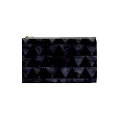 Triangle2 Black Marble & Black Watercolor Cosmetic Bag (small) by trendistuff
