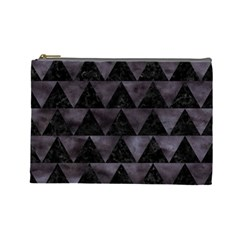 Triangle2 Black Marble & Black Watercolor Cosmetic Bag (large) by trendistuff