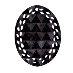 Triangle2 Black Marble & Black Watercolor Oval Filigree Ornament (two Sides) by trendistuff