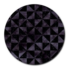 Triangle1 Black Marble & Black Watercolor Round Mousepad by trendistuff