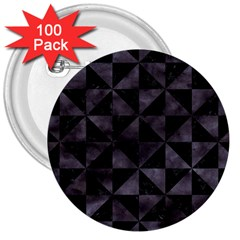 Triangle1 Black Marble & Black Watercolor 3  Button (100 Pack) by trendistuff