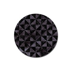 Triangle1 Black Marble & Black Watercolor Magnet 3  (round) by trendistuff
