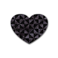 Triangle1 Black Marble & Black Watercolor Rubber Coaster (heart) by trendistuff