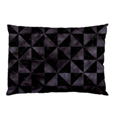Triangle1 Black Marble & Black Watercolor Pillow Case (two Sides) by trendistuff