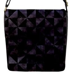 Triangle1 Black Marble & Black Watercolor Flap Closure Messenger Bag (s) by trendistuff