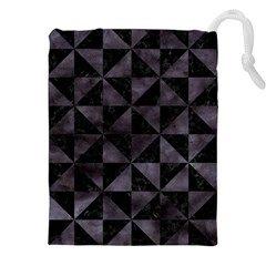 Triangle1 Black Marble & Black Watercolor Drawstring Pouch (xxl) by trendistuff