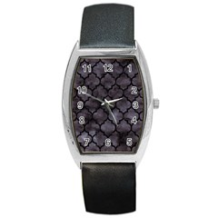Tile1 Black Marble & Black Watercolor (r) Barrel Style Metal Watch by trendistuff