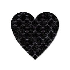 Tile1 Black Marble & Black Watercolor Magnet (heart) by trendistuff