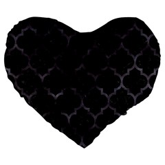 Tile1 Black Marble & Black Watercolor Large 19  Premium Flano Heart Shape Cushion by trendistuff