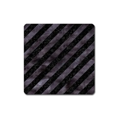 Stripes3 Black Marble & Black Watercolor Magnet (square) by trendistuff