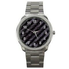 Stripes3 Black Marble & Black Watercolor Sport Metal Watch by trendistuff