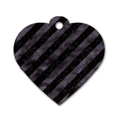Stripes3 Black Marble & Black Watercolor Dog Tag Heart (one Side) by trendistuff