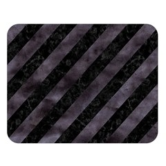 Stripes3 Black Marble & Black Watercolor Double Sided Flano Blanket (large) by trendistuff