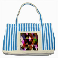Triangles Abstract Triangle Background Pattern Striped Blue Tote Bag by Simbadda