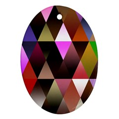 Triangles Abstract Triangle Background Pattern Oval Ornament (two Sides) by Simbadda