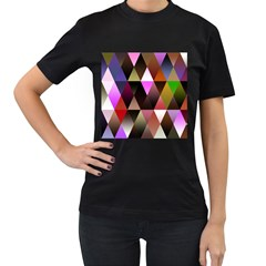 Triangles Abstract Triangle Background Pattern Women s T Shirt (black) by Simbadda