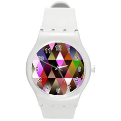 Triangles Abstract Triangle Background Pattern Round Plastic Sport Watch (m) by Simbadda