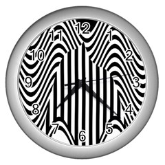 Stripe Abstract Stripped Geometric Background Wall Clocks (silver)  by Simbadda