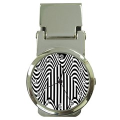 Stripe Abstract Stripped Geometric Background Money Clip Watches by Simbadda