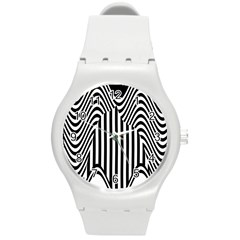 Stripe Abstract Stripped Geometric Background Round Plastic Sport Watch (m) by Simbadda