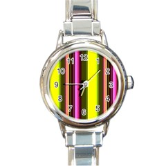 Stripes Abstract Background Pattern Round Italian Charm Watch by Simbadda