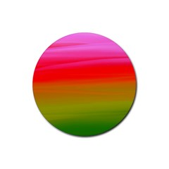 Watercolour Abstract Paint Digitally Painted Background Texture Rubber Coaster (round)  by Simbadda