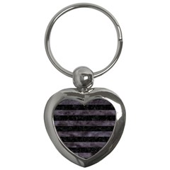 Stripes2 Black Marble & Black Watercolor Key Chain (heart) by trendistuff