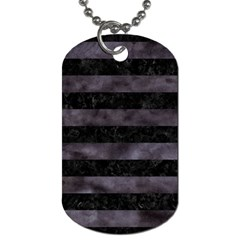 Stripes2 Black Marble & Black Watercolor Dog Tag (one Side) by trendistuff