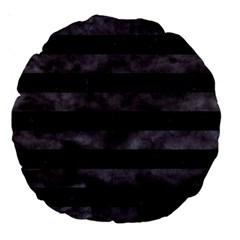 Stripes2 Black Marble & Black Watercolor Large 18  Premium Round Cushion  by trendistuff