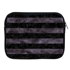 Stripes2 Black Marble & Black Watercolor Apple Ipad Zipper Case by trendistuff