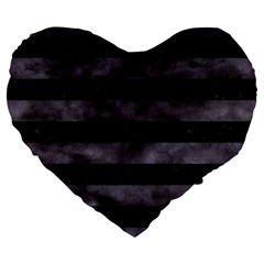 Stripes2 Black Marble & Black Watercolor Large 19  Premium Flano Heart Shape Cushion by trendistuff