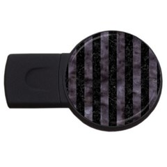 Stripes1 Black Marble & Black Watercolor Usb Flash Drive Round (2 Gb) by trendistuff