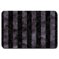 Stripes1 Black Marble & Black Watercolor Large Doormat by trendistuff