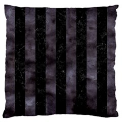 Stripes1 Black Marble & Black Watercolor Large Cushion Case (one Side)