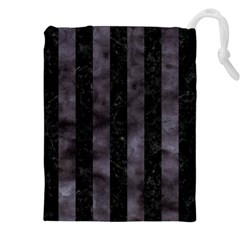Stripes1 Black Marble & Black Watercolor Drawstring Pouch (xxl) by trendistuff