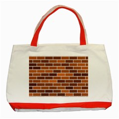 Brick Brown Line Texture Classic Tote Bag (red) by Mariart