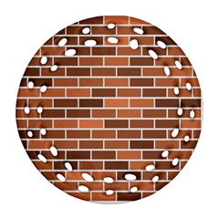 Brick Brown Line Texture Ornament (round Filigree) by Mariart
