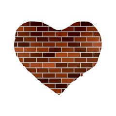 Brick Brown Line Texture Standard 16  Premium Heart Shape Cushions by Mariart
