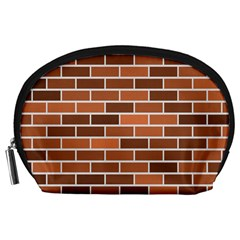 Brick Brown Line Texture Accessory Pouches (large)  by Mariart