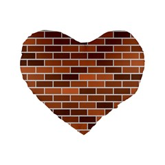 Brick Brown Line Texture Standard 16  Premium Flano Heart Shape Cushions by Mariart