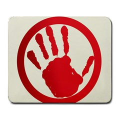 Bloody Handprint Stop Emob Sign Red Circle Large Mousepads by Mariart