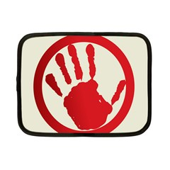 Bloody Handprint Stop Emob Sign Red Circle Netbook Case (small)  by Mariart